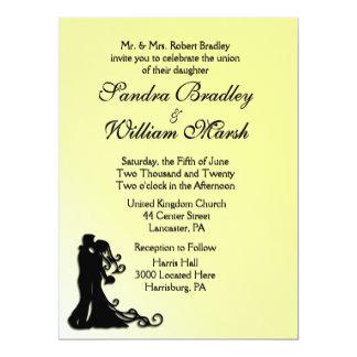 Bride and Groom Yellow 17 Cm X 22 Cm Invitation Card