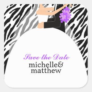 Bride and Groom Zebra Pattern Wedding Square Sticker