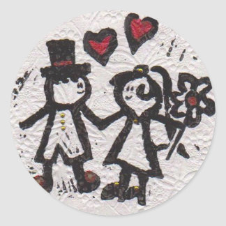 Bride and Grrom 2 Round Sticker