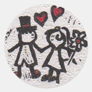 Bride and Grrom 2 Round Sticker