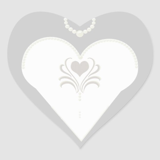 Bride and pearls heart sticker