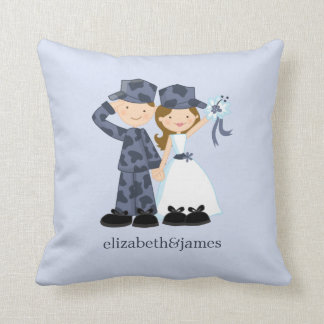 Bride and Soldier in Blue Camouflage Wedding Cushion