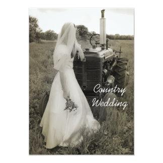 "Bride and Tractor Country Wedding Invitation 5"" X 7"" Invitation Card"