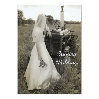 Bride and Tractor Country Wedding Invitation