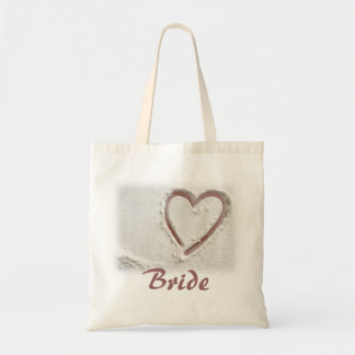 Bride Beach Heart of Sand Budget Tote Bag