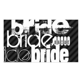 Bride; Black & Dark Gray Stripes Double-Sided Standard Business Cards (Pack Of 100)