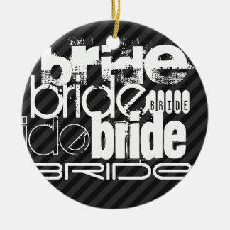 Bride; Black & Dark Gray Stripes Round Ceramic Decoration