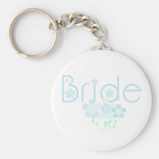 Bride Blue Flowers T-shirts and Gifts Key Chain