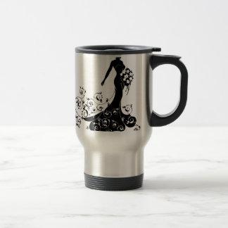 Bride Bouquet Wedding Silhouette Abstract Travel Mug