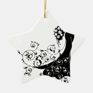Bride Bouquet Wedding Silhouette Pattern Christmas Ornament