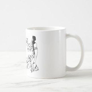 Bride bridal dress silhouette abstract coffee mug