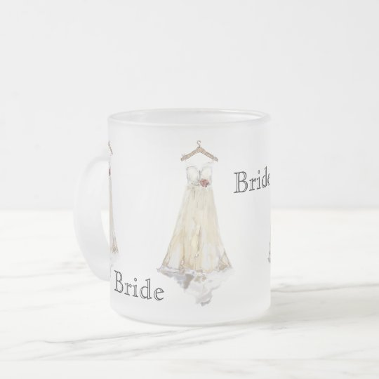 Bride Bridal Shower Wedding Dress Party Favour Frosted Glass Coffee Mug