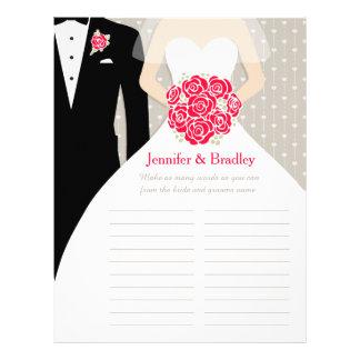 Bride Bridal Shower Word Game red rose dress 21.5 Cm X 28 Cm Flyer