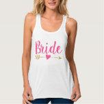 Bride | Bride Tribe| Heart|Hot Pink Flowy Racerback Tank Top