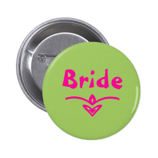 Bride Button in lime green and pink