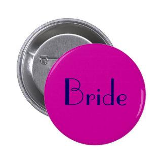 Bride Button in Navy and Fuchsia