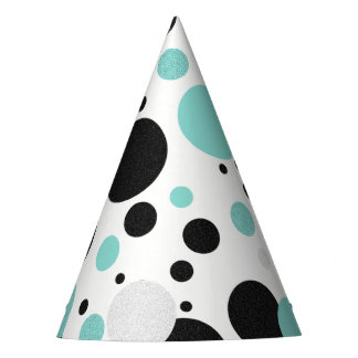 BRIDE & CO. Blue And Black Polka Dots Party Hat