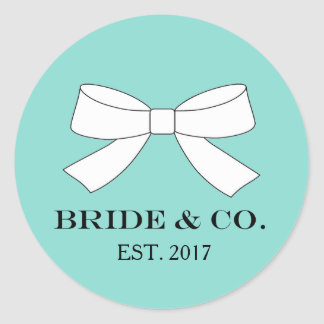 BRIDE & CO. Blue And White Bow Party Stickers