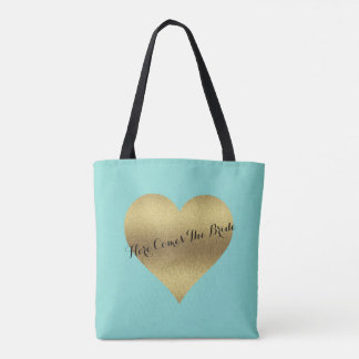 BRIDE & CO Gold Heart Tiffany Teal Blue Tote Bag