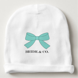 """""""BRIDE & CO Personalize Blue Bow Baby Beanie Hat"""