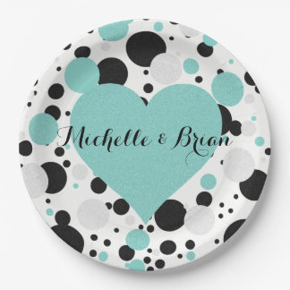 BRIDE & CO Shimmer Blue Polka Dot Party Plates