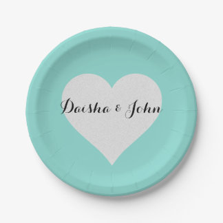 BRIDE & CO Shower Teal Blue Heart Party Plates