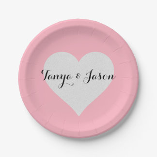 BRIDE & CO Silver Heart Pink Tiffany Party Plates