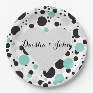 BRIDE & CO Silver Heart Polka Dot Party Plates
