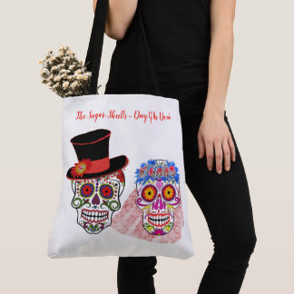 BRIDE & CO Sugar Skulls Bride Groom Beach Tote Bag