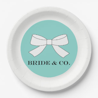 BRIDE & CO Teal Blue And White Bow Party Plates