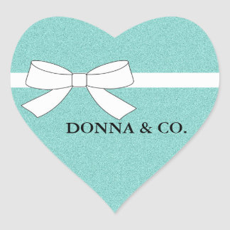 BRIDE & CO. Teal Blue Shimmer Heart Stickers
