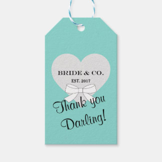 BRIDE & CO. Teal Blue Thank You Gift Tags