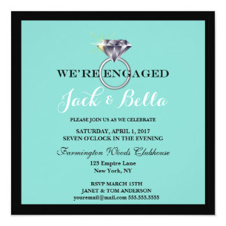 BRIDE & CO Teal Blue We're Engaged Party Card