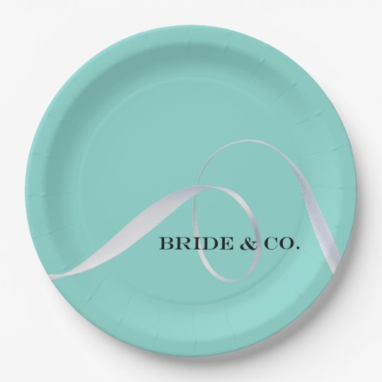 BRIDE & CO. Tiffany Ribbon Party Paper Plates 9 Inch Paper Plate
