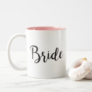Bride Coffee Mug Minimalistic Wedding Gift - Black