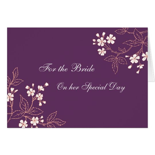 Bride Congratulations Wedding Day Card Plum Floral