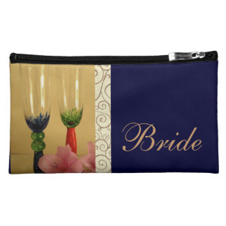 Bride Cosmetic Bag with Champagne Glasses
