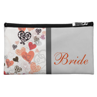 Bride Cosmetic Bag with Floating Hearts