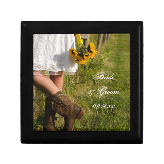 Bride, Cowboy Boots and Sunflowers Ranch Wedding Gift Box