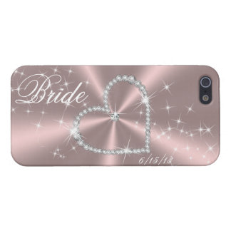 BRIDE - DIAMOND HEART ON PINK SATIN iPhone 5/5S CASES