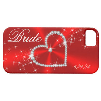BRIDE - DIAMOND HEART ON RED SATIN iPhone 5 COVER