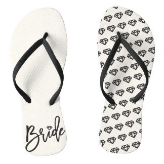 Bride Diamonds Bridal Party Wedding Flip Flops