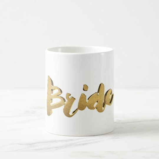 Bride Elegant Typography Gold Lookl Text Coffee Mug