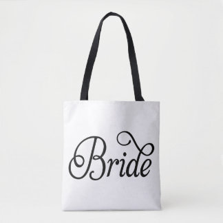 Bride Fancy Script Wedding All-Over Print Tote Bag