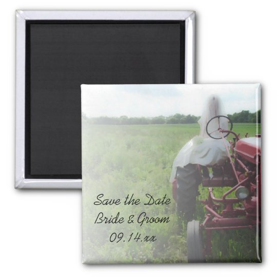 Bride Farm Tractor Country Wedding Save the Date Magnet