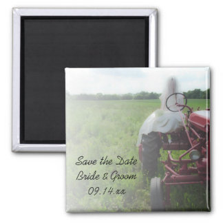 Bride Farm Tractor Country Wedding Save the Date Square Magnet