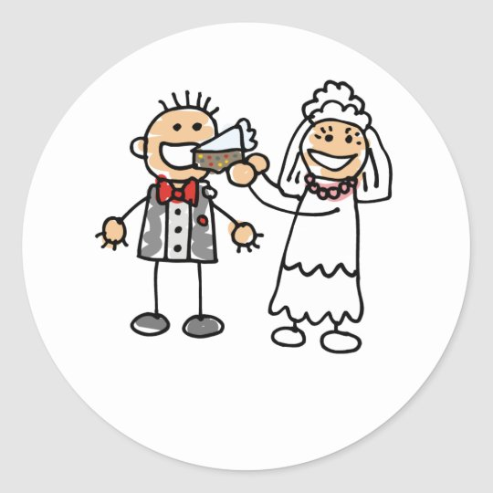 Bride Feeds Groom Classic Round Sticker
