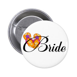 Bride Flip Flop Orange 6 Cm Round Badge