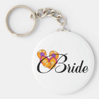 Bride Flip Flop Orange Basic Round Button Key Ring