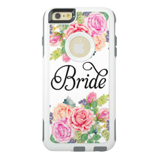 Bride Floral Roses Watercolors Modern Fancy Script OtterBox iPhone 6/6s Plus Case